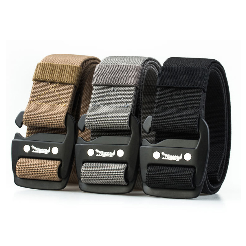 Elastic Canvas   Belt   Men For Jeans Pants Combat Crocodile Design Metal Buckle   Belt   Casual Long Nylon Waist   Belt   Black Men's Gift