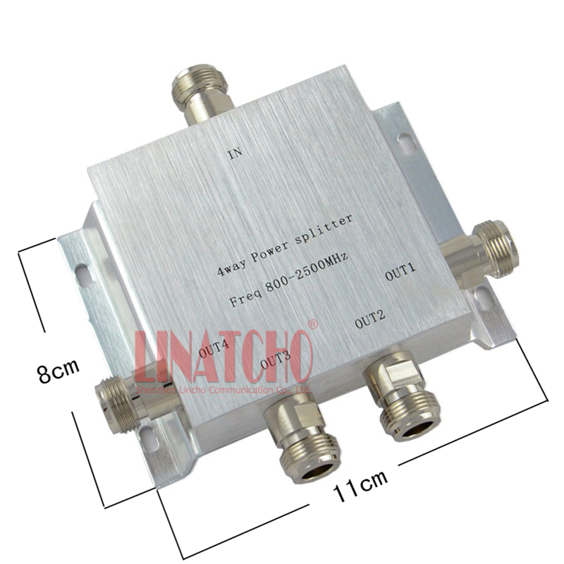 4 Ways N Female Type GSM 3G 4G WIFI 800-2500MHz Signal Booster Repeater Microstrip Power Splitter Divider