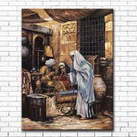 Arabes classiques vivant paysage toile impressions peintures à l'huile imprimées sur toile hôtel mur art décoration photos