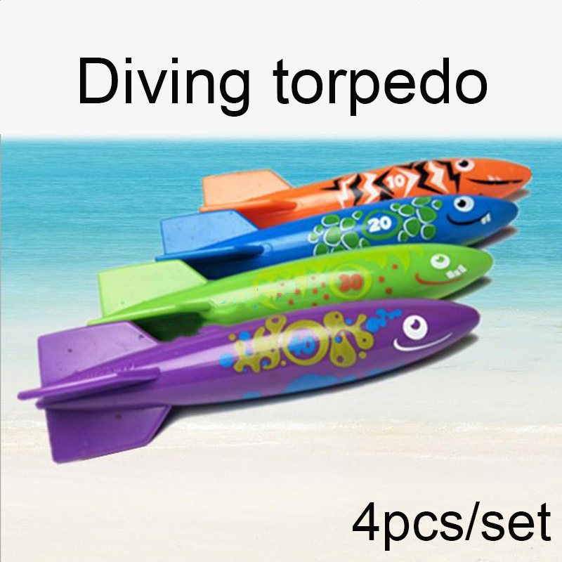 4 Pcs Torpedo Rocket Throwing Toy Swimming Pool Diving Game Summer Torpedoes Children Underwater Dive Sticks Toy
