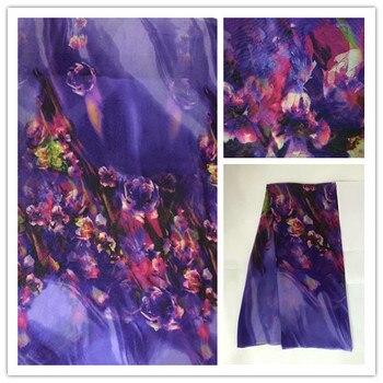 5b52e6cb161 140 см Thin100 % чистый натуральный шелк тутового шифона цифровой печатный  синий Текстиль Ткань сшить женское платье ткань для шарфа DSF08