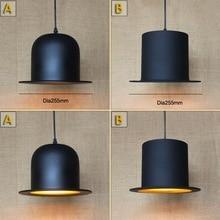 Lámpara colgante de sombrero negro antiguo para luces de cocina sala/comedor/Edison tapa Simple de metal cubierta de sombra lámpara colgante