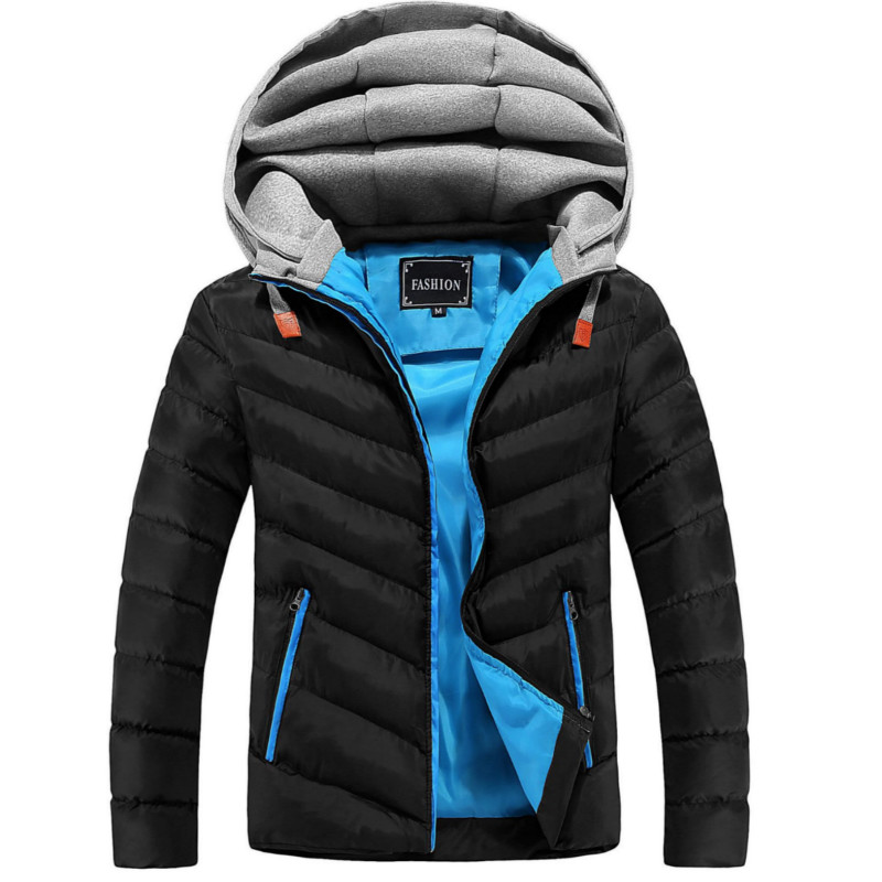 Winter Jacket Men Hat Detachable Warm Coat Cotton-Padded Outwear Mens Coats Jackets Hooded Collar Slim Clothes Thick Parkas X327 4