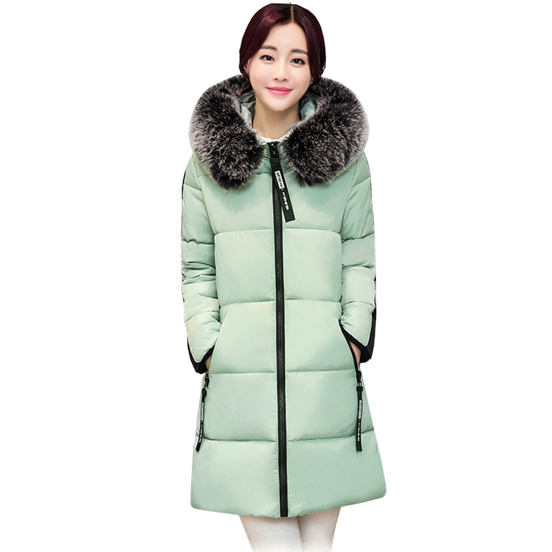Snow Wear 2017 Winter Women Jacket Cotton Coat Fur Collar Hood Parka High Quality Fashion Zipper Long Jacket Thick Femme Outwear snow wear 2017 high quality winter women jacket cotton coats fur collar hooded parkas fashion long thick femme outwear cm1346
