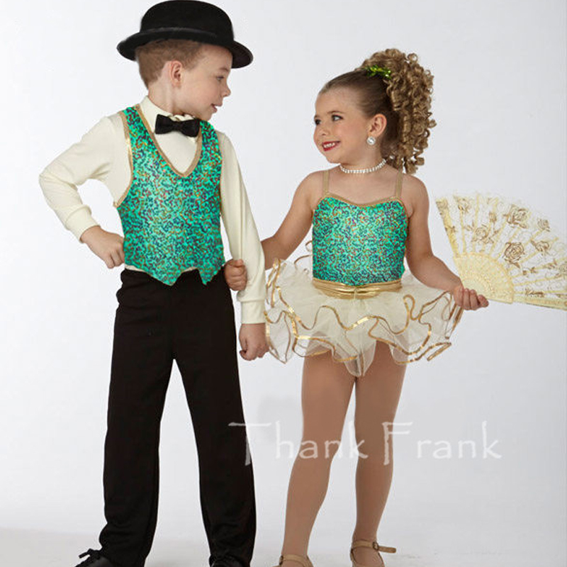 Sequin Camisole Ballet Dresses For Girls Couple models 3 piece Dance Costumes For Boys C423