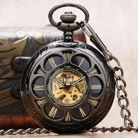 الرجعية جوفاء زهرة الغلاف ساعة الجيب الميكانيكية النساء الساعات هدية الجدة P889C