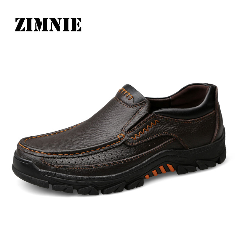 ZIMNIE Brand Men Genuine Leather Leisure Flat Shoes Men Classic Casual Slip On Loafers Comfortable Moccasin Big Plus Size 37~47