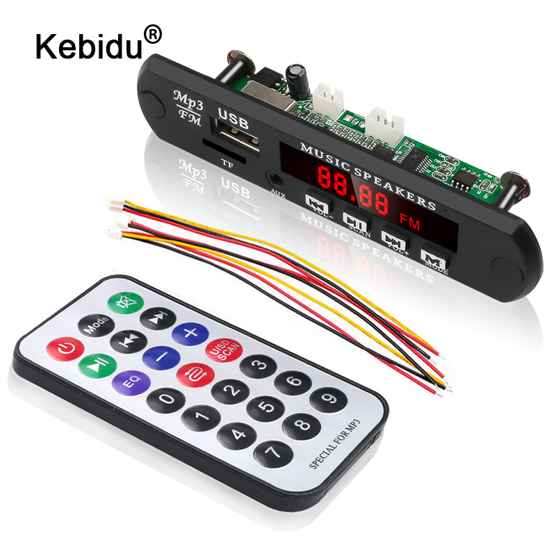 kebidu No Bluetooth MP3 WMA WAV Decoder Board MP3 Player Car Audio USB TF FM Radio Module 5V 12V with Remote Control For Car