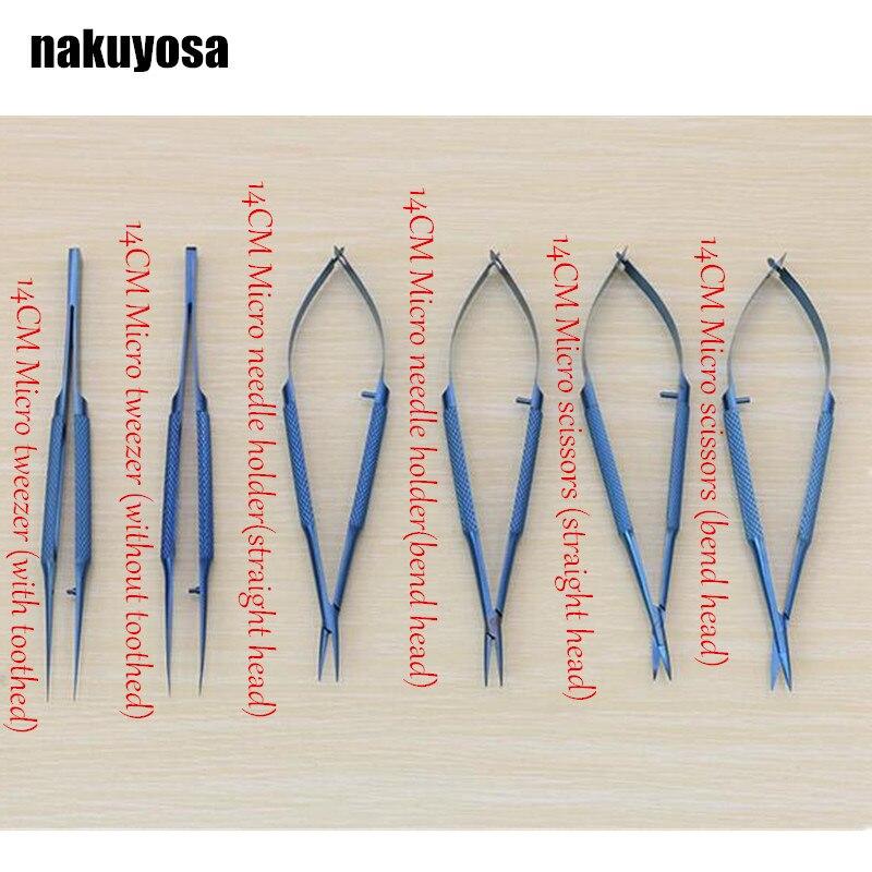 14cm Titanium Alloy Ophthalmic Microsurgical Instruments Needle Holder Micro Scissors Tweezers Hand Surgery 6pcs/set