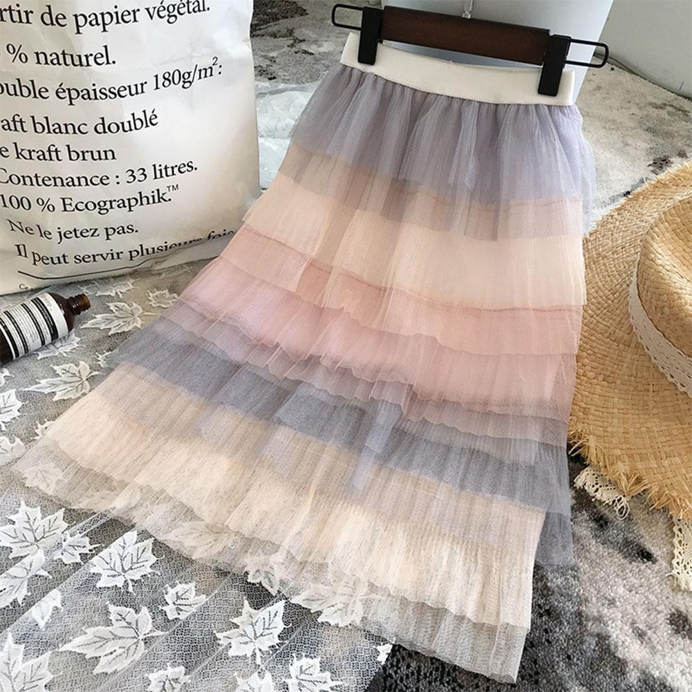 Children Baby Girls Rainbow Gradient Tutu Long Skirt in Skirts from Mother Kids