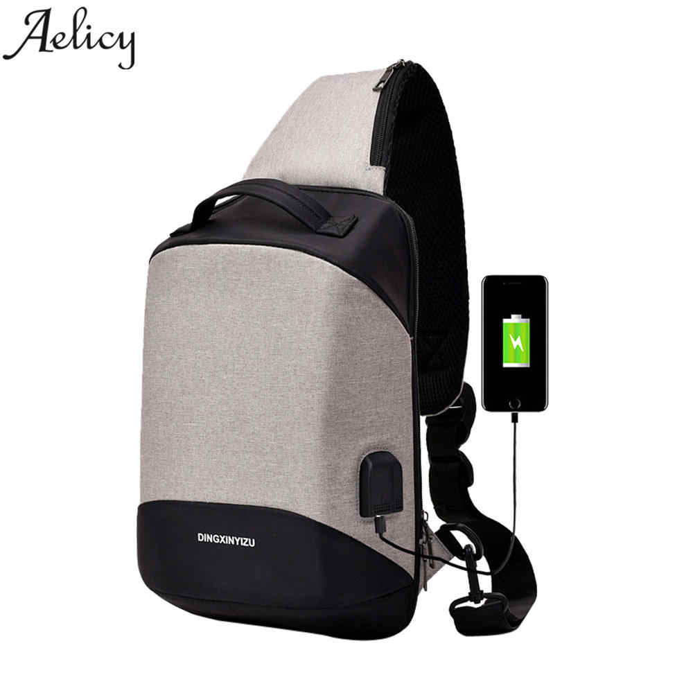 Aelicy luxury Arrivals USB Design High Capacity Chest bag Men Crossbody Bags for Women 2020 Smart Anti Theft Chest Bag Women Men