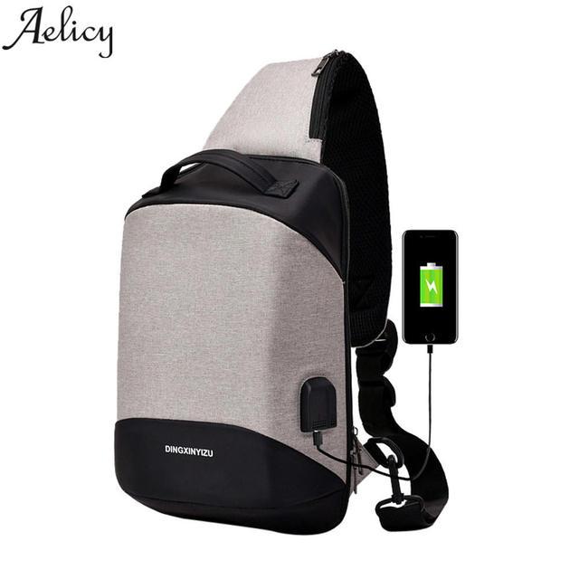 Aelicy Luxury Arrivals Usb Design High Capacity Chest Bag Men Crossbody Bags For Women 2018 Smart