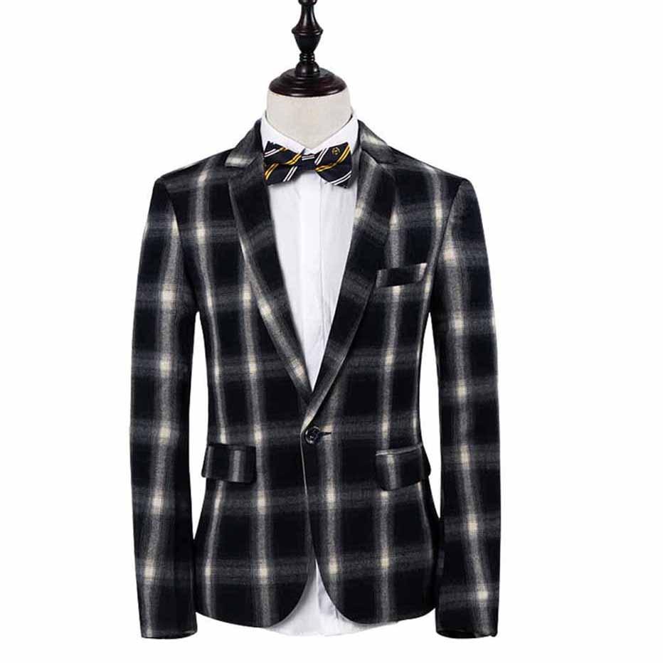 Costumes Blazer Vert Loldeal Plaid Mariage Classique Bouton Masculino De D'affaires Green Unique 2018 Nouveau Occasionnel Hommes black rnqX74qY