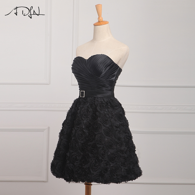 Adln Cheap Little Black Dress Lace Pleats Cocktail Dresses With Belt