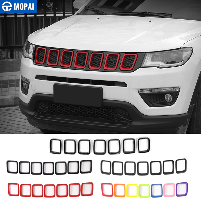 MOPAI Racing Grills for Jeep Compass 2017 Up Car Front Grille Cover Decoration for Jeep Compass 2018 Car Accessories StylingMOPAI Racing Grills for Jeep Compass 2017 Up Car Front Grille Cover Decoration for Jeep Compass 2018 Car Accessories Styling