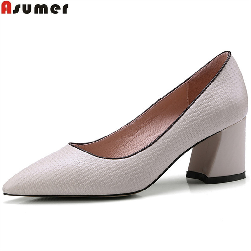 ASUMER black beige fashion spring autumn shoes woman pointed toe shallow square heel women genuine leather high heels shoes asumer black beige pointed toe buckle square heel spring autumn shoes woman pumps elegant ladies high heels shoes size 33 46