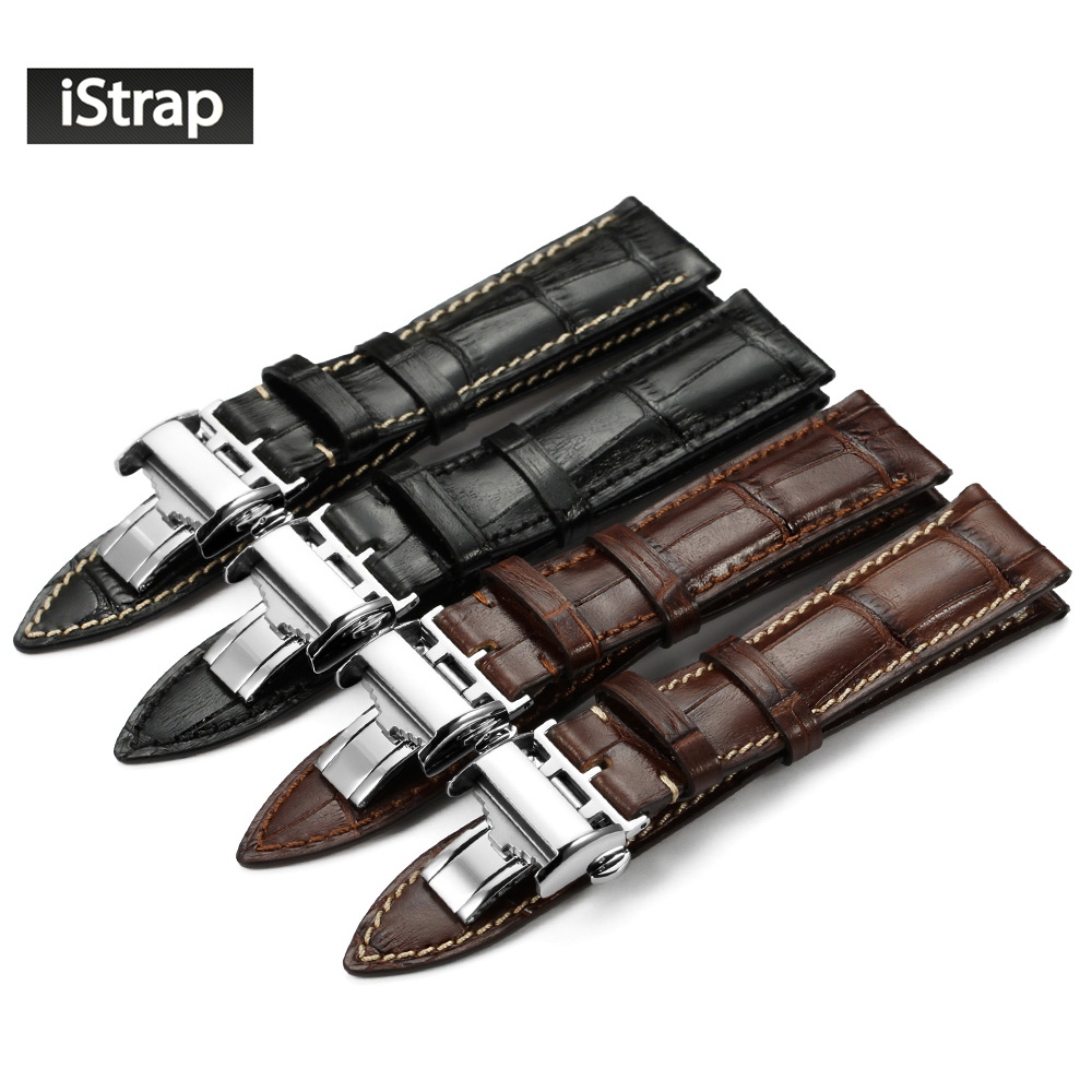 iStrap 20mm 21mm 22mm Black Brown Italian Genuine Leather Watch Strap Silver Deployment Buckle Watchband For LONGINES For Men купить недорого в Москве