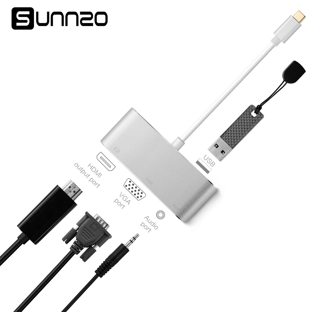 USB C To HDMI 4K VGA Adapter Type C to USB 3.0/ Audio Cable/ VGA /HDMI Converters Multiport Hub Adapter for New Macbook Pro Etc. цена и фото