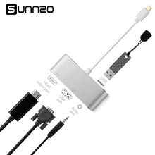 USB C do HDMI 4 K adapter VGA typu C do USB 3.0/kabel Audio/VGA/HDMI konwertery multiport piasta dla nowego Macbook Pro itp.(China)