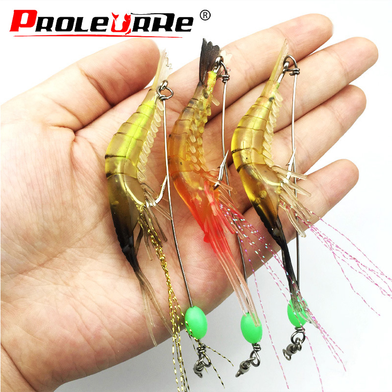1Pcs Shrimp Soft Lure 5.5g Fishing Artificial Bait With Glow Hook Swivels Anzois Para Pesca Sabiki Rigs Fishing Lure PR-248