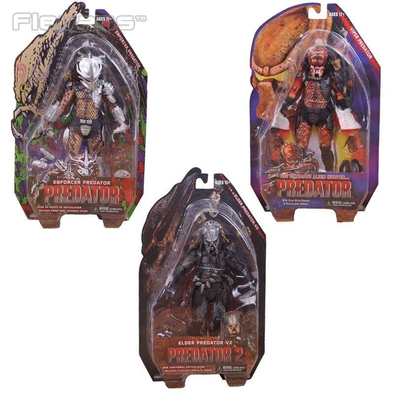 "NECA <font><b>Predators</b></font> <font><b>Series</b></font> 12 Enforcer The Ultimate Alien Hunter <font><b>Elder</b></font> V2 PVC Action <font><b>Figure</b></font> Collection Model Toy 7"""