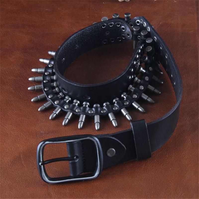 Cinturón de cuero genuino hombres bala del remache para los hombres ... 4859a72d7c5f