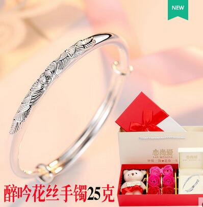 999 sterling silver bracelet female thousand feet old phoenix simple auspicious cloud bracelet 520