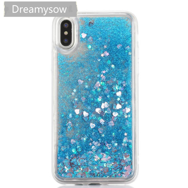 Newest Soft TPU Cases For iphone X Ten Love Heart Stars Glitter Liquid Quicksand Silicone Cover For iphone 5 5S SE 6 6s 7 8 plus