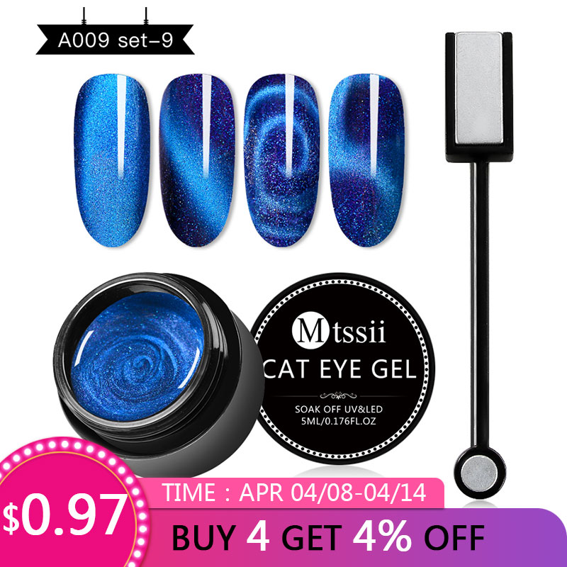 Mtssii 5D Cat Eyes Series Magnet Starry Sky Effect Nail Gel Polish UV LED Gel Nail Art Varnish Soak Off UV Gel Lacquer in Nail Gel from Beauty Health