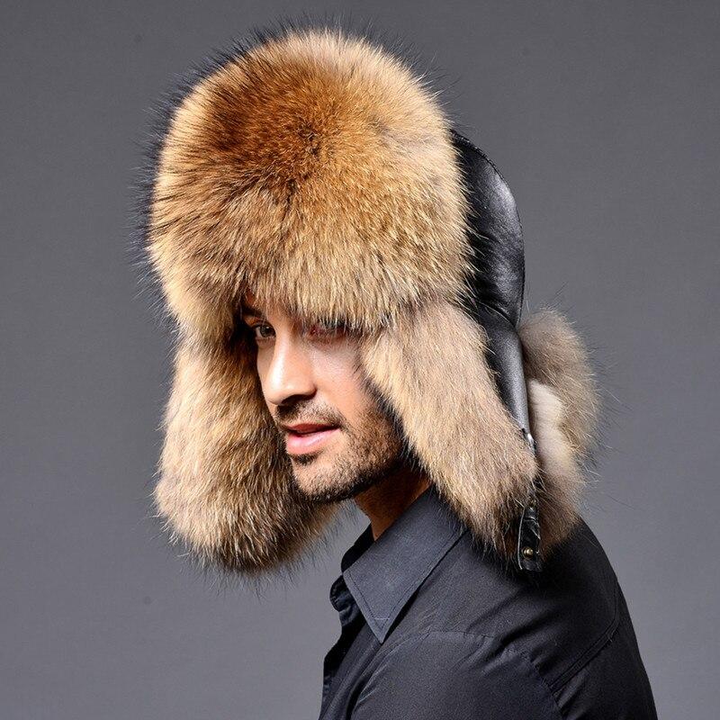 2019 BARU Warna Alami Topi Bulu Gaya Siberia Topi Bulu Rakun Topi - Aksesori pakaian - Foto 3