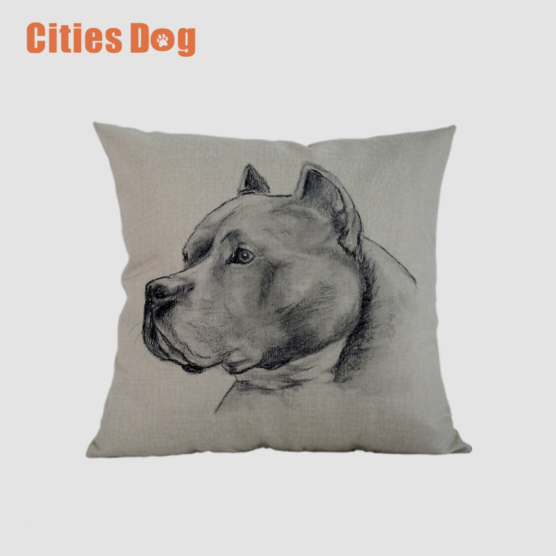 Animal dog Square pillowcase linen American Staffordshire Terrier Dogs decorative pillows Home cushion cover wedding decoration