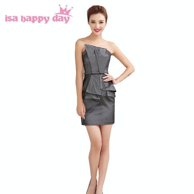 a5059842c2bb26 Mooie formele korte grijs bruidsmeisje satin party diner jurken sexy jurk  zwart voor vrouwen bruiloft onder