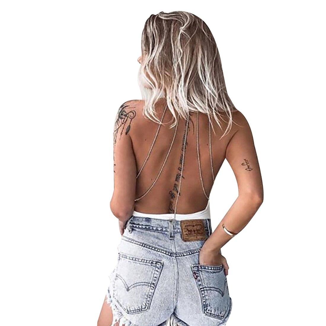 YJSFG HOUSE Summer Body Chain Slim Bodysuit Women Sexy Halter Neck Backless Jumpsuit Rompers Elegant Night Party Bodysuits 2017