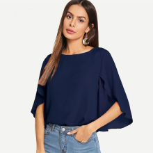 Casual Split Flounce Sleeve Solid Top Women 2019 Half Sleeve Chiffon Blouse Office Ladies Navy Workwear Summer Blouses цена 2017