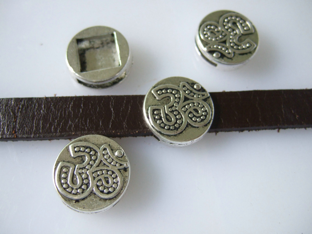 10pcs Antique Silver Carvd OM OHM AUM Symbol Yoga Round Slider Spacer Beads For Up To 12x2mm Flat Leather Cord