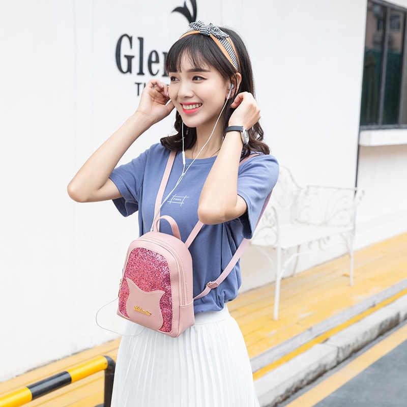 Mini Ransel Wanita Squins Tas PU Kulit Gadis Permen Warna Tas Ransel Kecil Tas Wanita Kualitas Tinggi