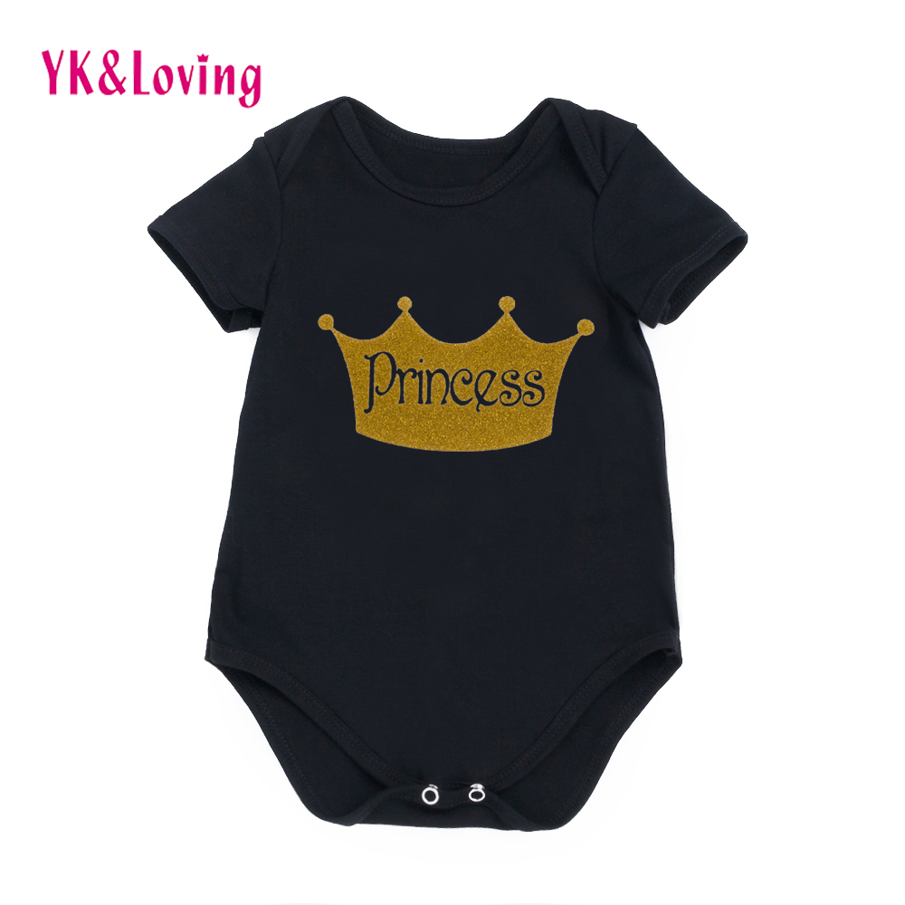 Cute Cartoon Print Baby Girl Romper 2017 Hot Sale Black Infant Clothing Short Sleeve Girls for 0-24M Summer Clothes R127S