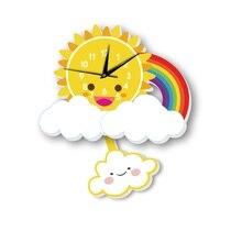 Cute Sun Cloud Rainbow Cartoon Animal Swing Wall Clock Quartz Movement Home Decoration for Living Room