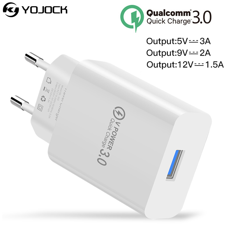 YOJOCK Qualcomm Quick Charge 3.0 Fast USB Phone Charger Travel Wall Charger Adapter for iPhone/Samsung S8/Xiaomi Carregador