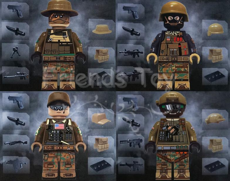 4pcs Modern War American Recon Support Engineer Squad Navy Swat Army  City Officer Mini Figures Blocks Lepin guerre moderne lego