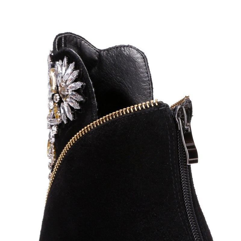 En Hiver Bottes Masgulahe Cuir Noir Cristal Vache Cheville Gros Prix Automne Coins Femme De Daim Chaussures Mode Talon wRRq6t