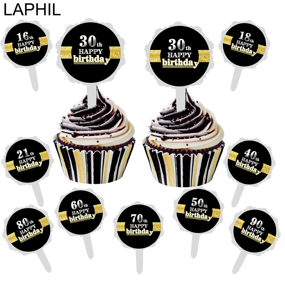LAPHIL 6pcs 16 18 21 30 40 50 60 70 80 <font><b>90</b></font> <font><b>Birthday</b></font> Cake Topper Happy <font><b>Birthday</b></font> Party Decorations Adult Anniversary Party Favors image