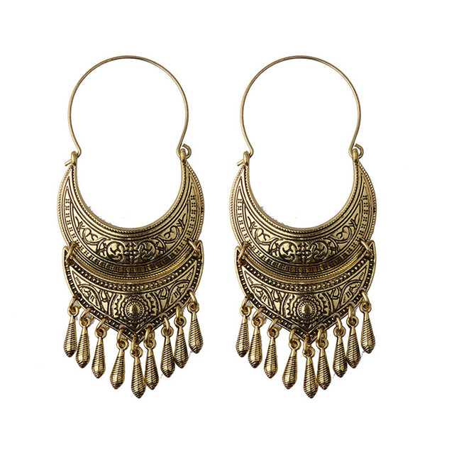 Bronze Silver Vintage Ethnic South Jewelry Gold Tone Oxidized Indian Earrings Jhumka Jhumki