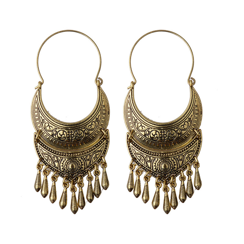Bronze/Silver Vintage Ethnic South Jewelry Gold/Silver Tone Oxidized Indian Earrings Jhumka Jhumki HQE310