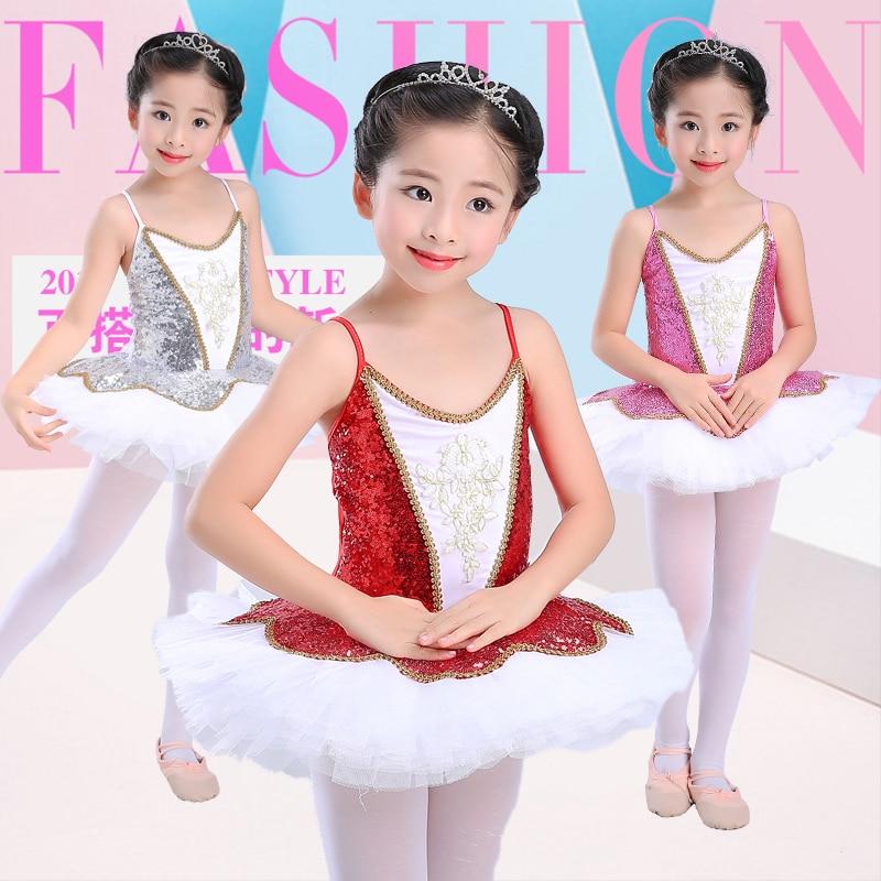 Ballet Costumes Little Swan Enfants de Paillettes Tutu Robe Sling Robes Enfants Princesse de Performance Tutu