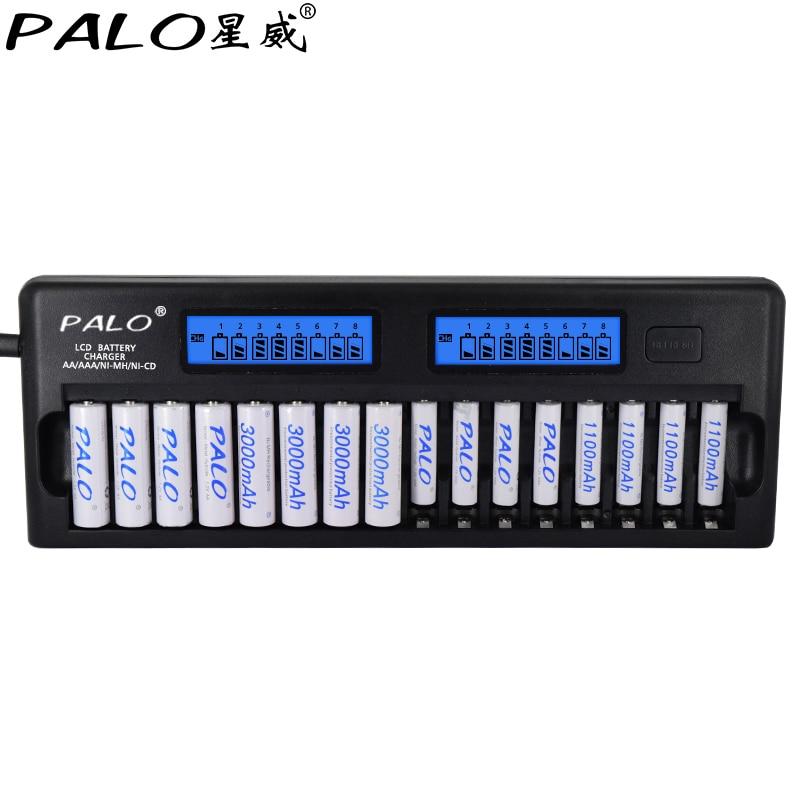 PALO 16 slots LCD Built-in IC protection Smart Intelligent Battery Charger AA AAA Ni-MH Ni-Cd 16-bay 16-Bank for aa aaa 1.2v nokoser d6u 6 slot lcd intelligent li ion lifepo4 battery charger for rechargeable ni mh ni cd aaa sc 26650 18650 batteries