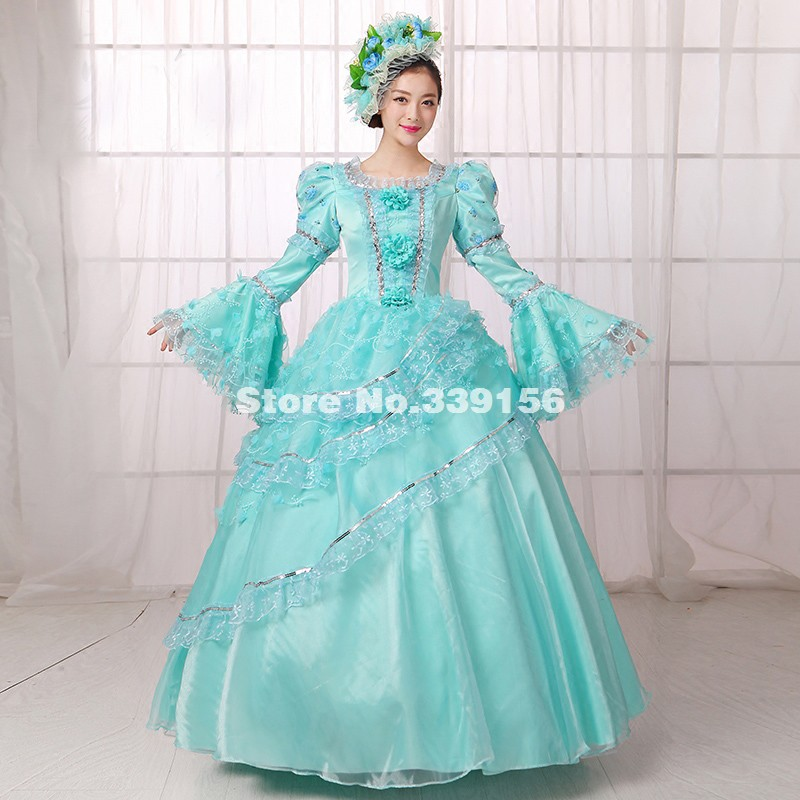 d9f51a79045e Lovely Sky Blue Rococo Victorian Marie Antoinette Palace Masquerade Dresses  Halloween/Christmas Party Dress