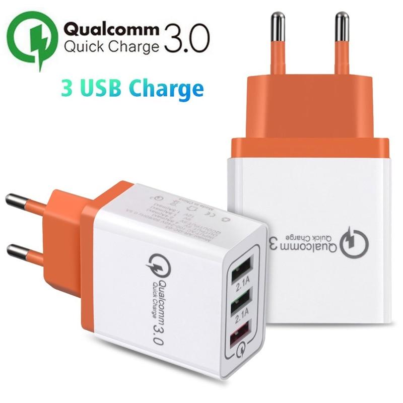 EU Plug 3USB выходное зарядное устройство для iPhone/vivo X21/Samsung S10 S9/Huawei P20 P30 nova Mate20/OPPO R17 R15/для xiaomi 8