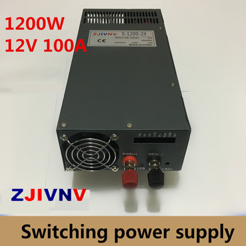цена на Single Output big watt 1200W Switching Power Supply 12v 100A DC SMPS for LED Strip light industry CNC AC-DC input 220VAC 110VAC