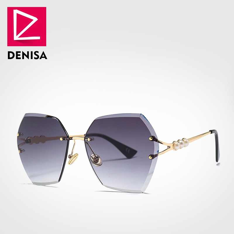 5f95b10e3e DENISA 2019 Square Rimless Pearl Sunglasses Retro Women Brand Designer  Trendy Gradient Polygon Sun Glasses Female